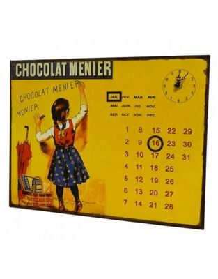 L'HERITIER DU TEMPS - Horloge murale-L'HERITIER DU TEMPS-Calendrier-pendule Plaque Pub Menier
