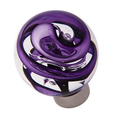 Les Verreries De Brehat - Bouton de porte-Les Verreries De Brehat-Tubes de bulles sph�rique violet