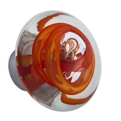 Les Verreries De Brehat - Bouton de porte-Les Verreries De Brehat-Tubes de bulles disque rouge chili