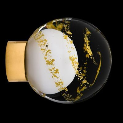 Les Verreries De Brehat - Bouton de porte-Les Verreries De Brehat-Malo volutes blanc et or
