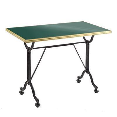 Ardamez - Table de repas rectangulaire-Ardamez-Table de repas émaillée vert / laiton / fonte