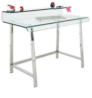 WHITE LABEL - Bureau-WHITE LABEL-Bureau CLEAR en verre et acier inoxydable