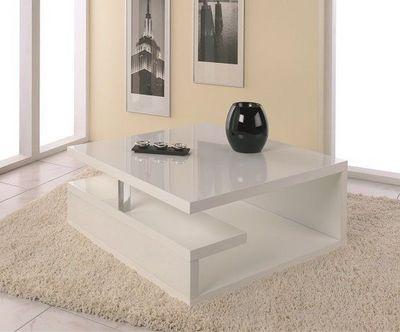 WHITE LABEL - Table basse carrée-WHITE LABEL-Table basse VALENTINE laquée blanc brillant avec r
