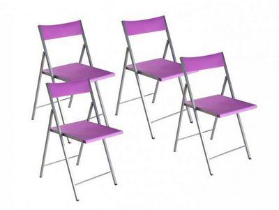 WHITE LABEL - Chaise pliante-WHITE LABEL-BELFORT Lot de 4 chaises pliantes mauve