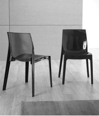 WHITE LABEL - Chaise-WHITE LABEL-Lot de 2 chaises design CRYSTAL empilable en plexi