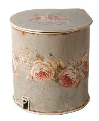 Antic Line Creations - Poubelle de salle de bains-Antic Line Creations-Poubelle Salle de bain Roses