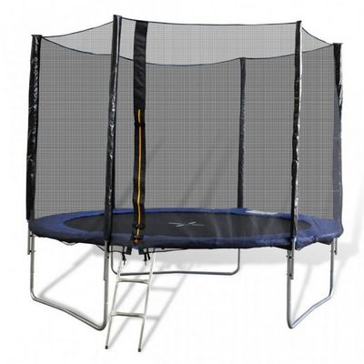 WHITE LABEL - Trampoline-WHITE LABEL-Trampoline 10' 3 pieds + filet de sécurité