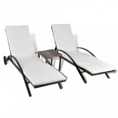 WHITE LABEL - Chaise longue de jardin-WHITE LABEL-Lot de 2 transats de jardin marron + table