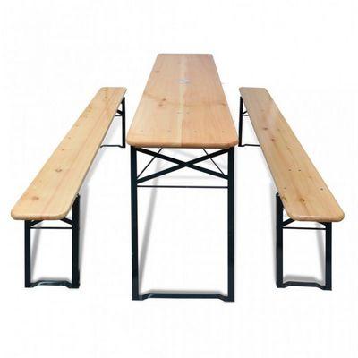 WHITE LABEL - Table pique-nique-WHITE LABEL-Table + 2 bancs pliable avec trou parasol