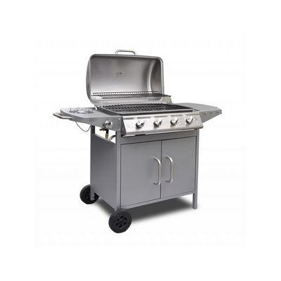 WHITE LABEL - Barbecue au gaz-WHITE LABEL-Barbecue à gaz 4 brûleurs avec thermomètre