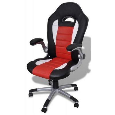 WHITE LABEL - Fauteuil de bureau-WHITE LABEL-Fauteuil de bureau sport cuir noir/rouge