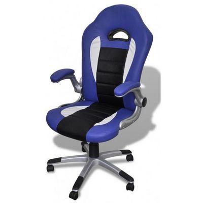 WHITE LABEL - Fauteuil de bureau-WHITE LABEL-Fauteuil de bureau sport cuir bleu/noir