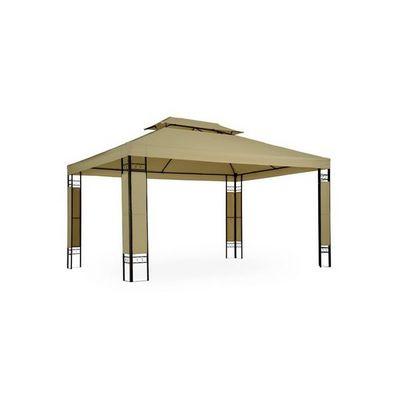 WHITE LABEL - Tonnelle-WHITE LABEL-Tonnelle de jardin pavillon métal 4x3 cappucino