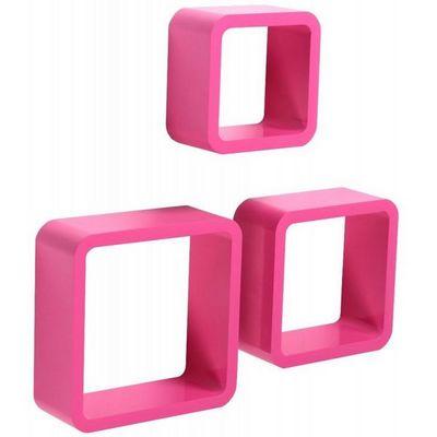 WHITE LABEL - Etagère-WHITE LABEL-Étagère murale x3 cube design rose