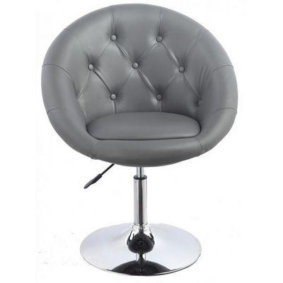 WHITE LABEL - Fauteuil rotatif-WHITE LABEL-Fauteuil lounge pivotant cuir gris