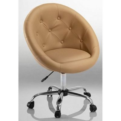 WHITE LABEL - Fauteuil rotatif-WHITE LABEL-Fauteuil lounge pivotant cuir marron