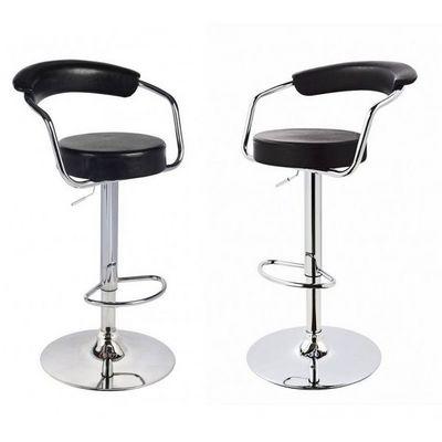 WHITE LABEL - Chaise haute de bar-WHITE LABEL-Lot de 2 tabourets de bar en cuir PU noir