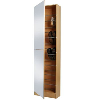 WHITE LABEL - Meuble à chaussures-WHITE LABEL-Meuble armoire à chaussure bois miroir