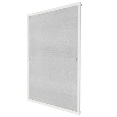 WHITE LABEL - Moustiquaire de fenêtre-WHITE LABEL-Moustiquaire pour fenêtre cadre fixe en aluminium 80x100 cm blanc