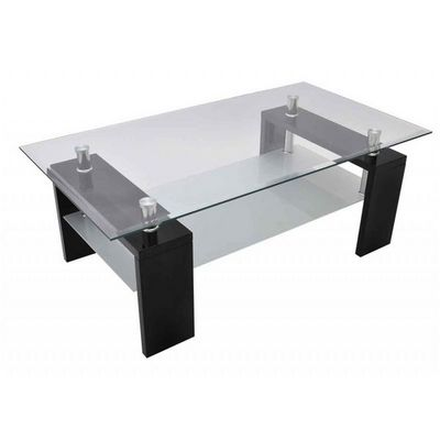 WHITE LABEL - Table basse rectangulaire-WHITE LABEL-Table basse design noir verre