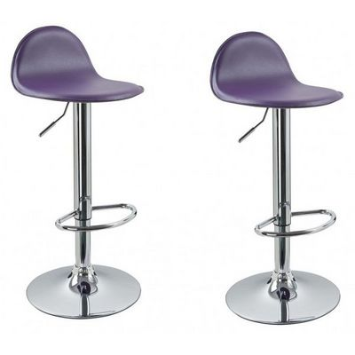 WHITE LABEL - Chaise haute de bar-WHITE LABEL-Lot de 2 Tabourets de bar violet