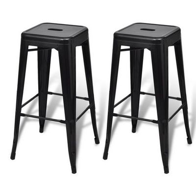WHITE LABEL - Tabouret de bar-WHITE LABEL-Lot de 2 tabourets de bar factory noir
