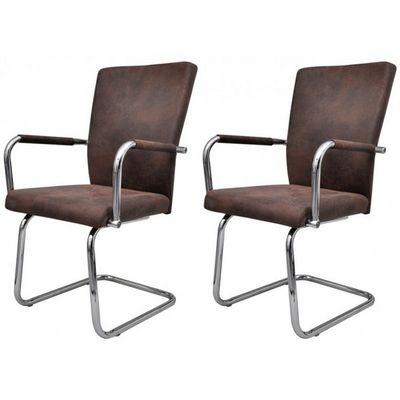 WHITE LABEL - Chaise-WHITE LABEL-2 chaises de salle � manger marron
