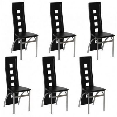 WHITE LABEL - Chaise-WHITE LABEL-6 Chaises de salle a manger noires