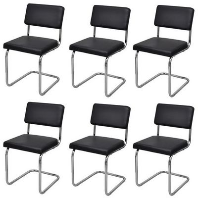 WHITE LABEL - Chaise-WHITE LABEL-6 Chaises de salle a manger noir