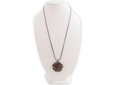 WHITE LABEL - Collier-WHITE LABEL-Chaîne longue pendentif en rose argentée et strass