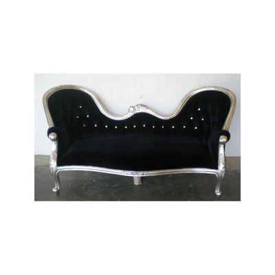 DECO PRIVE - Canap� 3 places-DECO PRIVE-canap� baroque en bois argent� et velours noir et