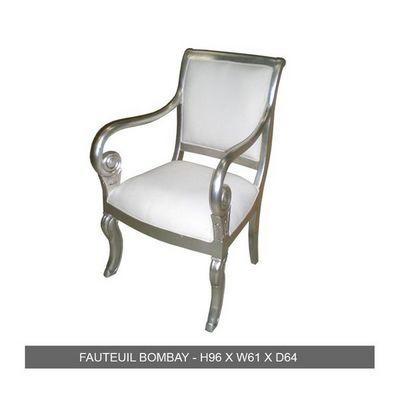 DECO PRIVE - Fauteuil-DECO PRIVE-Fauteuil de style en bois argent� et simili blanc