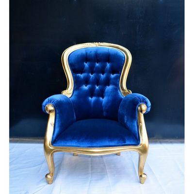 DECO PRIVE - Fauteuil-DECO PRIVE-Fauteuil baroque doré et bleu modèle Grandfather
