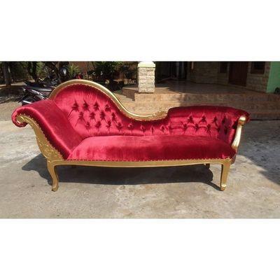 DECO PRIVE - Méridienne-DECO PRIVE-Meridienne velours rouge et bois argenté modèle Fl