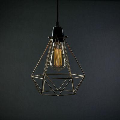 Filament Style - Suspension-Filament Style-DIAMOND 1 - Suspension Or câble Noir Ø18cm | Lampe
