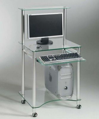 WHITE LABEL - Bureau-WHITE LABEL-ZANI petit bureau design en verre transparent