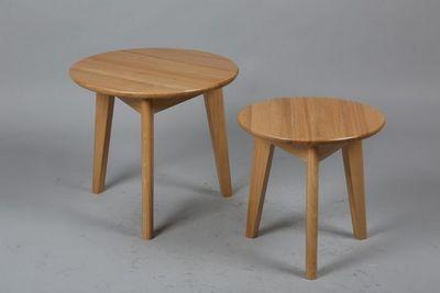 WHITE LABEL - Table basse ronde-WHITE LABEL-Lot de 2 tables basses rondes OLGA en chêne massif