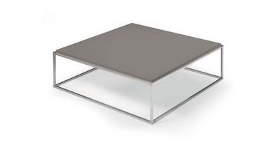 WHITE LABEL - Table basse carrée-WHITE LABEL-Table basse carré MIMI design taupe