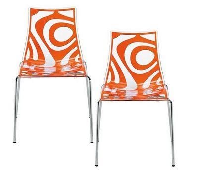 WHITE LABEL - Chaise-WHITE LABEL-Lot de 2 chaises design TRIBAL transparente et ora