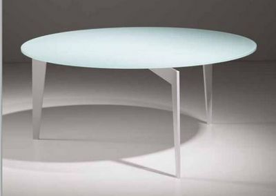 WHITE LABEL - Table basse ronde-WHITE LABEL-Table basse MIKY design ronde en verre blanc