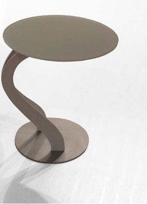 WHITE LABEL - Bout de canapé-WHITE LABEL-Bout de canapé TOM design taupe ovale en verre tre
