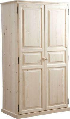 Aubry-Gaspard - Armoire-dressing-Aubry-Gaspard-Armoire bois brut 2 portes