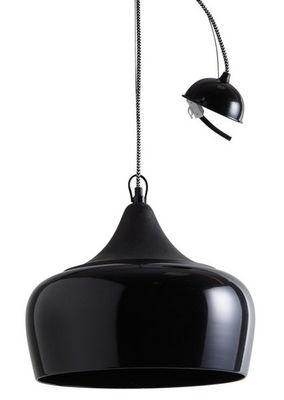 Aubry-Gaspard - Suspension-Aubry-Gaspard-Lampe suspension en métal laqué et bois Noir
