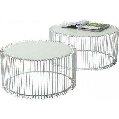 Kare Design - Table basse ronde-Kare Design-Table basse ronde Wire blanche 2/set