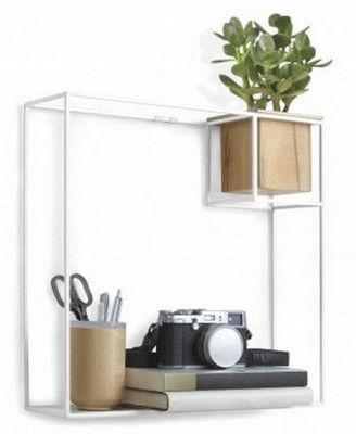 Umbra - Etagère murale simple-Umbra-Etagère design en métal blanc Cubist Grand modèle