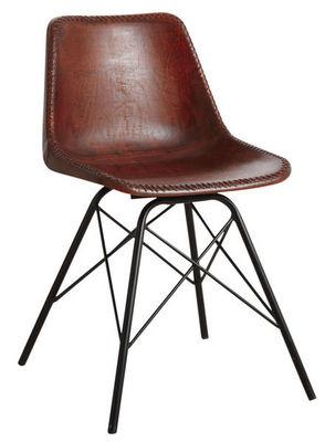Aubry-Gaspard - Chaise-Aubry-Gaspard-Chaise en cuir marron et métal