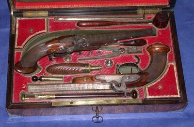 Patrice Reboul - Pistolet et révolver-Patrice Reboul-paire de pistolets de duel à percussion de CHAUBET