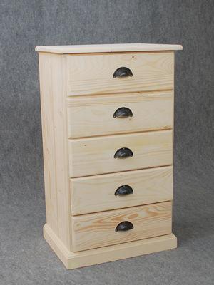 BARCLER - Chiffonnier-BARCLER-Chiffonnier en bois brut 5 tiroirs 53x92x40cm