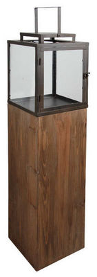Aubry-Gaspard - Lampe de jardin-Aubry-Gaspard-Lanterne de jardin en bois et métal 25x25x114cm