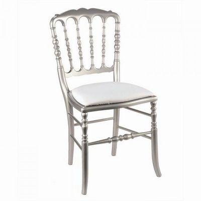 DECO PRIVE - Chaise-DECO PRIVE-Chaise Napoleon III argentee et gallette blanche